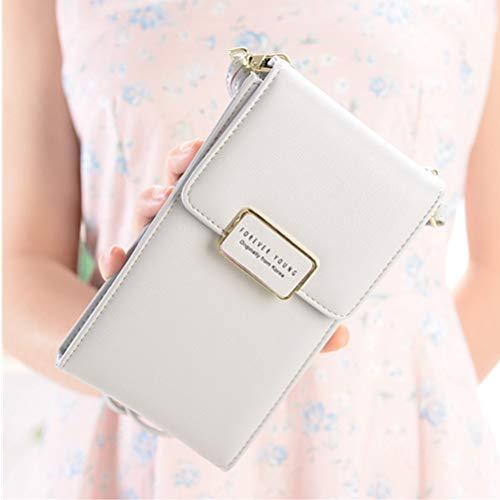 [Grande capacità] Piccolo Borsello in vera pelle borsa del portafoglio sacchetto del cellulare con tracolla Cinturino rimovibile regolabile per le donne Ragazze per iPhone Samsung Huawei