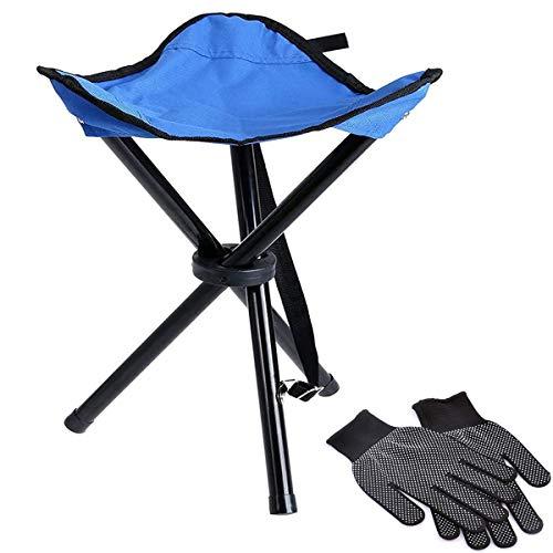 Binjor 1Pcs Dreibeinhocker faltbar handliche leicht Campingstuhl 3-Bein-Hocker Angelhocker dreibein klappbar mit 2Pcs Handschuhe mit rutschfesten Silikonpartikeln für Angeln Reise Wandern Garten