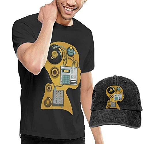 AYYUCY Camisetas y Tops Hombre Polos y Camisas, Dingtai J Dilla DJ Men's Short Sleeve T Shirt and Adult Washed Cowboy Hat