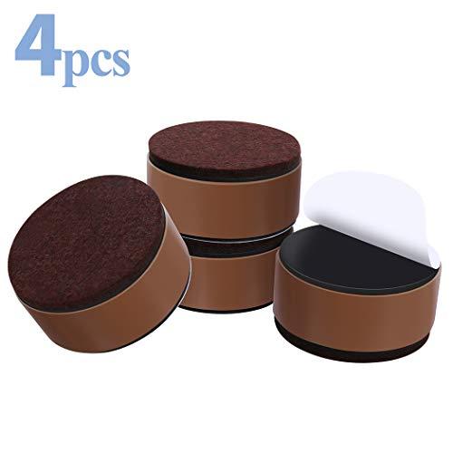 Ezprotekt Elevador de muebles de acero al carbono, 6 cm de diámetro, autoadhesivo, 3 cm de altura para camas, sofás y armarios, marrón