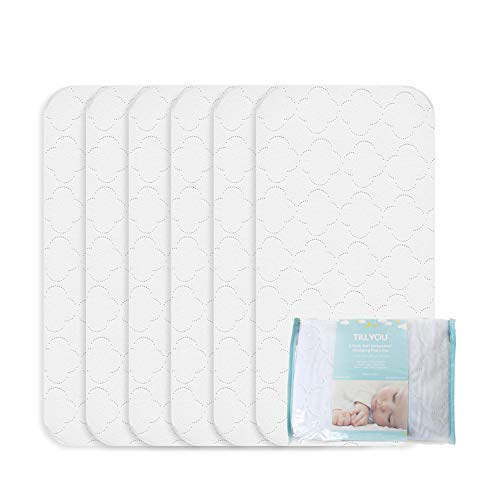 """TILLYOU Portable Quilted Changing Pad Liners Waterproof, Ultra Soft Thick Breathable Changing Table Cover Liners, 11.5"""" X 23"""" Washable Reusable Changing Mats Sheet Protector, 6 Pack"""