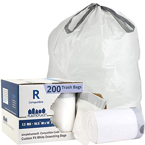 Plasticplace Trash Bags simplehuman (x) Code R Compatible (200 Count) │ White Drawstring Garbage Liners 2.6 Gallon / 10 Liter │ 16.5' x 18', (Pack of 1)