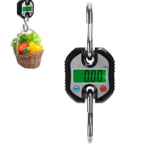 banapoy Báscula de grúa de 150 kg/300lb, Mini báscula portátil LCD Gancho electrónico Digital Peso Colgante con luz de Fondo, para Maletas de Equipaje de Cerdo y Oveja