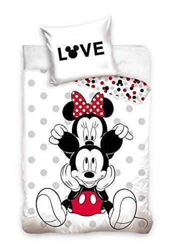 CT Minnie & Mickey Mouse Love - Juego de cama reversible (100% algodón, 140 x 200 cm, 70 x 90 cm), color blanco