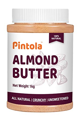 All Natural Roasted Almond Butter, Spread (Crunchy) 1kg (35.27 OZ) By Pintola