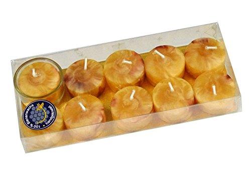 10 lose Bienenwachs Teelichter, marmoriert, reine Handarbeit, incl 1 Teelichtglas