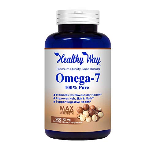 Healthy Way Pure Omega 7 Fatty Acids 200 Capsules 900mg Natural Sea Buckthorn Oil, NON-GMO USA Made 100% Money Back Guarantee - Order Risk Free!