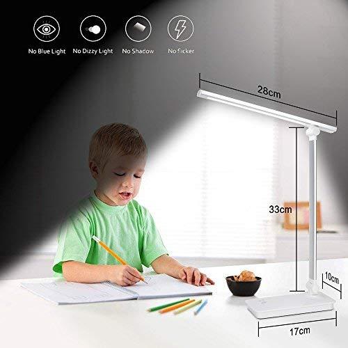 Lámpara LED de escritorio con puerto de carga USB, control táctil, 3 modos de color, 5 niveles, luces LED regulables, para niños, estudio, oficina, iluminación (plateada)