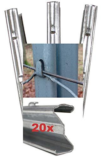 TRUTZHOLM 20x Z-Profil Zaunpfosten 2 m verzinkt Zaunpfähle inkl. Haken | Metallzaunpfosten für Wildzaun Weidezaun Drahtzaun Wildschutzzaun Knotengeflecht Zaun Forstprofil Forstzaun