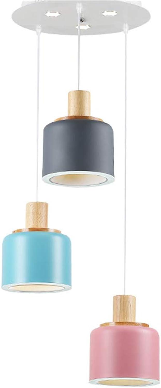 Pendant Lights Wrought Iron Wood Dining Room 3 Lamp Head Cafe Office LED Lighting (25 × 17cm)