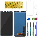 LWMTT Pantalla LCD de repuesto compatible con Samsung Galaxy A6 Plus 2018 SM-A605FN SM-A605G, color negro, pantalla táctil LCD digitalizadora con adhesivo, herramientas y cristal templado