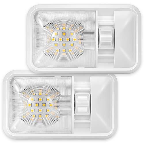 Kohree 12V LED Auto Innenbeleuchtung Kit 2er Pack RV Innenbeleuchtung Deckenleuchte Dachbeleuchtung 320LM Innenbeleuchtung mit Schalter für Wohnmobil/Wohnwagen/Wohnmobil/Wohnmobil/Lieferwagen/Boot