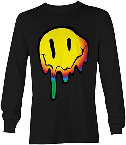 Tcombo Melting Smile Face - Psychedelic Drug Acid Unisex Long Sleeve Shirt (Black, Large)