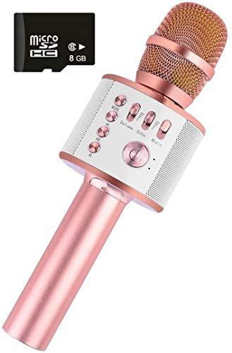 Bluetooth Karaoke Micrófono Inalámbrico Alta Calidad de Sonido Portátil Karaoke Mic Altavoz Reproductor Grabador con Radio FM Ajustable Navidad Fiesta de Cumpleaños para Niños Adultos Rosa