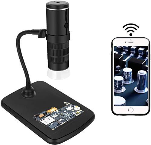 Drahtloses Digitales Mikroskop, WiFi-Mikroskop-Kamera 50x und 1000x Zoom 1080P mit professionellem Hubständer,Taschenmikroskop mit 8 LED-Licht Kompatibel für iOS und Android
