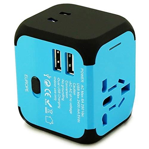 PIAOLING Worldwide Universal Adapter, Multifunctional International Plug Converter, Adapter for US EU UK AUS Europe Cell Phone (Color : Blue)