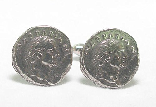 Boutons de Manchette Monnaie Romaine Empereur Vespasian (avec Boîte à Cadeau)