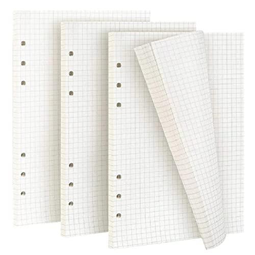 ZKSM 135 fogli/270 pagine confezioni di ricarica di carta a 6 fori formato A5 per raccoglitori, Filofax, Bullet Grids White Paper (21 x 14 cm)