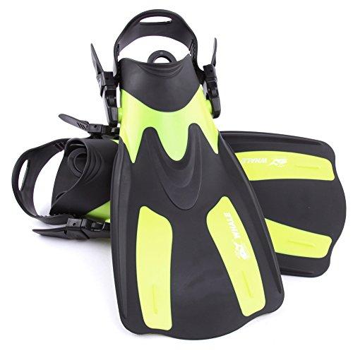 Aletas de Snorkeling, Aletas de natación Ajustables, Snorkeling Pie Flipper con talón Ajustable, Aletas de Buceo para Nadar Buceo Snorkeling Water Sport,Amarillo,ML/XL
