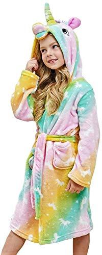 Msrlassn Kinder Weiches Einhorn Kapuzen Bademantel Nachtwäsche - Einhorn Geschenke für Mädchen (Regenbogen-Einhörner, 12-13 Jahre)