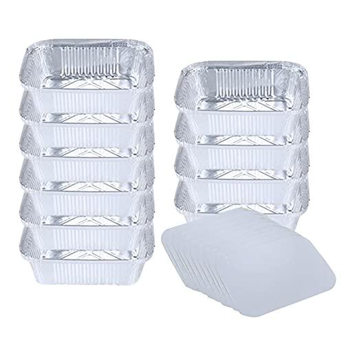 Cacerolas de aluminio de tamaño medio, bandejas de papel de aluminio desechables, recipientes de papel de aluminio para almacenamiento de alimentos, ideales para cocinar