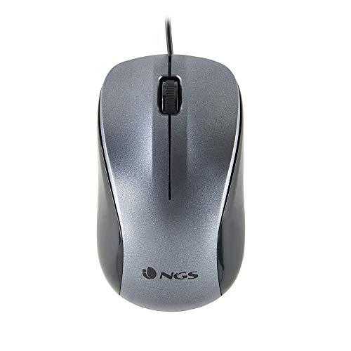 NGS Crew - Ratón Óptico 1200dpi con Cable USB, Ratón para Ordenador o Portátil con 2 Botones, Ambidiestro, Gris