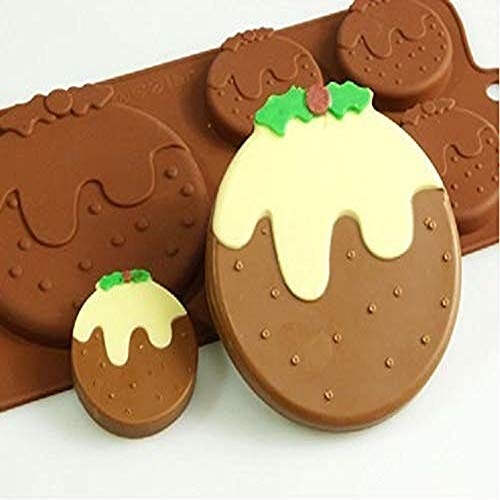 buyaoku Mini Candy Mold or Soft Candy Mold Christmas Pudding Silicone Mold