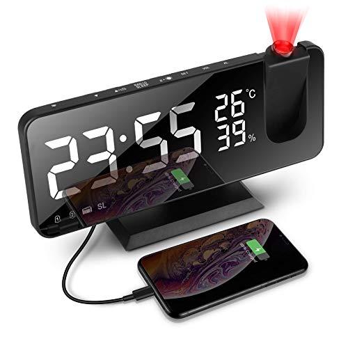 TOLIANCLE Projektionswecker, Wecker Digital Led Digital Wecker mit 180° Dreh-Projektor, 4 Projektionshelligkeit mit Automatischem Dimmer Snooze Dual-Alarm, 32FM Radio und Sleeptimer Flip-Anzeige