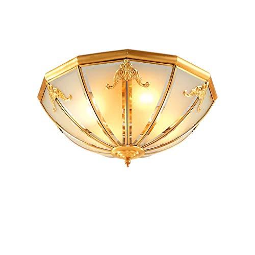 Lámparas de techo para sala de estar Cobre retro Ronda lámpara del techo, pantalla de cristal, Estudio dormitorio familiar Sala de estar lámpara del techo, creativo Balcón de entrada luces de techo de
