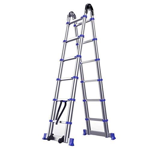 Xiaotian Escalera de extensión telescópica de Aluminio Multifuncional, Escalera de telecomunicaciones de Bloqueo Antideslizante, Escalera Recta, Escalera de Espiga,2.25m+2.25m=4.4mstraight