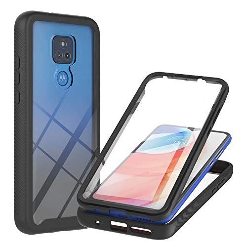 Molg Compatible con Funda Motorola Moto G9 Play/E7 Plus Incorporado Pet Screen Protector Transparent Back Shell 360 ° de Cuerpo Entero Anti-Scratch Anti-Shock Shell-Negro