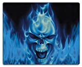 Meffort Inc Mouse Pad with Stitched Edges & Non-Slip Base, Smooth Silk Surface Gaming Mousepad - Blue Skull