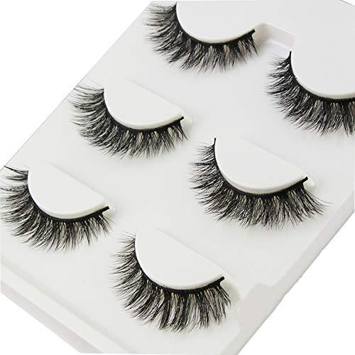 Faux cils Fil De Coton Fait à La Main 3D Tige Souple Simulation Naturelle Maquillage Nu Croisé épais Multicouches (3 Paires)