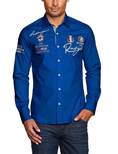 Redbridge Herren Hemd Langarm Freizeithemd Regular Fit Tailliert Bestickt R-Style R-2130 (3XL, Weiß)