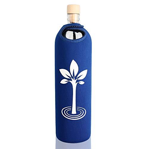 Design Baum des Lebens  0,5l - Flaska Trinkflasche Wasserflasche Glasflasche zum regelmäßigen Wassertrinken + 2 Korken