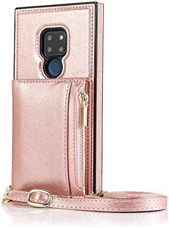 SLDiann Case for Huawei Mate 20, Zipper Wallet Case with Credit Card Holder/Crossbody Long Lanyard, Shockproof Leather TPU Case Cover for Huawei Mate 20 (Color : Rosegold)