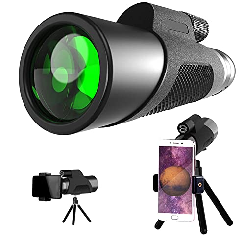 Bierglaks Telescopio monocular para Adultos, monocular Inteligente portátil para teléfono móvil, telescopios terrestres Impermeables con visión Nocturna para observación de Aves