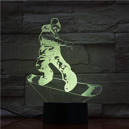LIkaxyd 3D Lampe Led Täuschung Nachtlicht, 7 Farbwech Ändern Berühren Sie Schreibtisch Lampe,Das Perfekte Weihnachts- Und Neujahrsgeschenk Für Kinder[Energieklasse A+]Skateboard