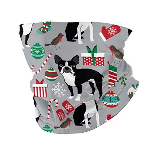 Ccycjasdkfewl Boston Terrier - Pañuelo para la cabeza de Navidad con diseño de perro navideño, pañuelo para la cabeza para el aire libre, con bolsillo interior