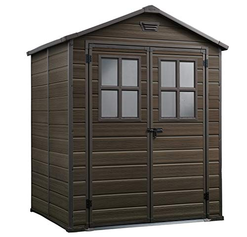 Keter 17202393 Scala Outdoor Plastic Garden Storage Shed, Brown, 6 x 5 ft