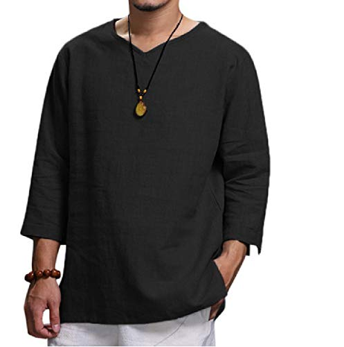 CuteRose Mens Linen Pullover Pure Color Leisure V Neck Relaxed-Fit Collared Dress Shirts Black 3XL