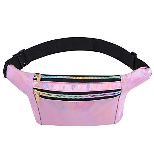 Bageek - Bolsa de cintura para mujer, piel sintética, metálica, brillante, resistente al agua, para el festival de las señoras, riñonera ligera, bolsa de cintura
