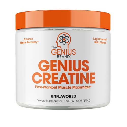 Genius Creatine Powder – Pro Post Workout Recovery Drink for Lean Muscle Gain   Creapure Monohydrate & Beta Alanine   Natural Anabolic Mass Gainer for Men & Women - Serious Muscle Builder, 170G