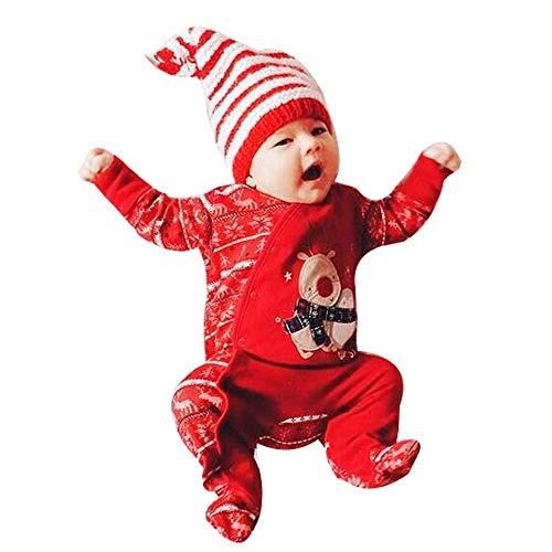 Wanshop - Set di vestiti natalizi per bambini a maniche lunghe, tutine per bambini da 0 a 24 mesi Rosso 0-6 Mesi