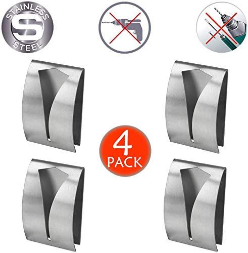 4 x Kleiderbügel für Handtücher und Küchentücher. Rostfreier Stahl. Packen Sie 4 Stück, Haken mit großem Griff und einfach zu montieren, ohne Löcher, ohne Bohrer.