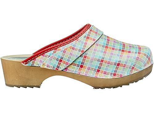 ESTRO Zuecos De Madera para Mujer Calzado Sanitario De Trabajo CDL06 (Cuadros, Numeric_37)