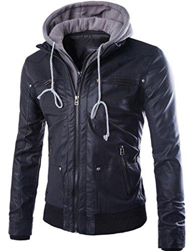Beninos Men's Faux Leather Two-Pocket Trucker Coat with Detachable Hood (PY31, L) Black