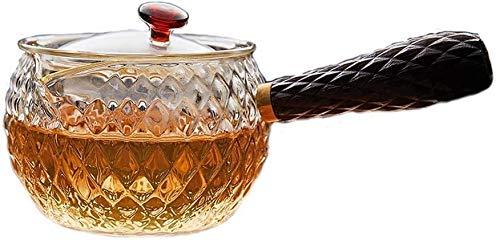 Bouilloire induction Théière en verre résistant à la chaleur Théière transparente avec petite tasse de cuisson en acier inoxydable Sovetop 280ml pour la cuisine de bureau à domicile WHLONG