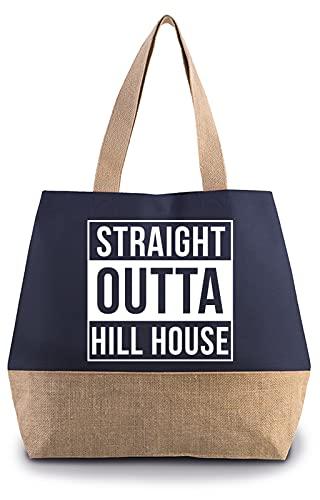 Hippowarehouse Straight Outta Hill House Premium reusable eco friendly 100% cotton tote shopper bag for life 40cm x 53cm x 15cm