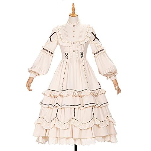 Lolita Style Robe Femmes Dentelle Maid Costume Robe Mignon Japonais Doux Gothique Robe De Soirée,XL